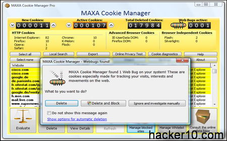 MAXA cookies manager