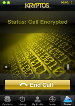 Kryptos mobile phone call encryption applet