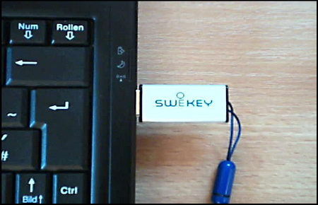 SweKey USB hardware token plugged in