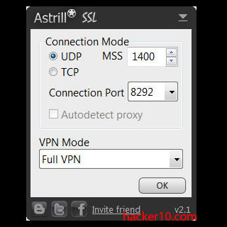 Astrill VPN client settings