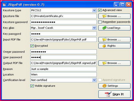JSignPDF free digital signature software