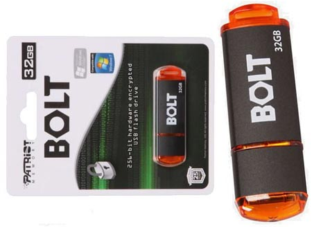 Patriot Bolt hardware based encryption flashdrive