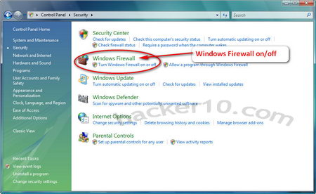 Windows built-in firewall settings