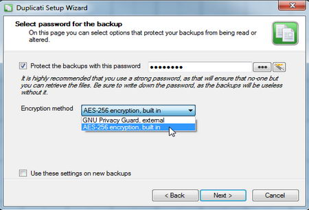 Duplicati data backup with encryption
