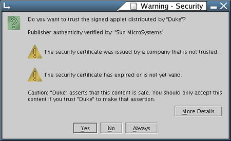 Digital certificate security warning