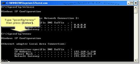 Windows ipconfig /renew gets new IP