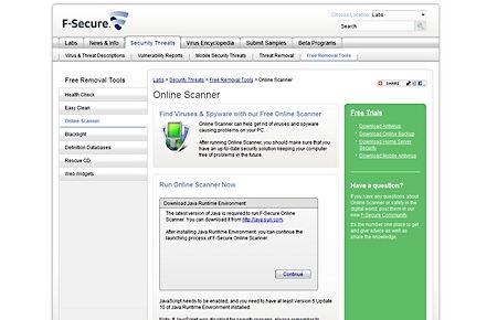 F-Secure online antivirus scanner