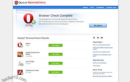 Qualys Browsercheck security test