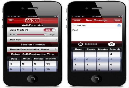 Wickr antiforensics mobile app