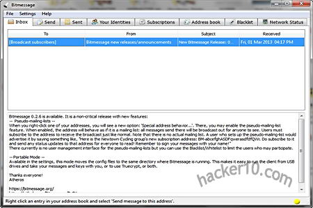 Bitmessage encrypted mailing list