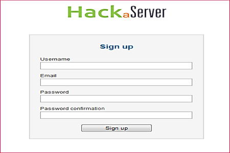 HackaServer account creation