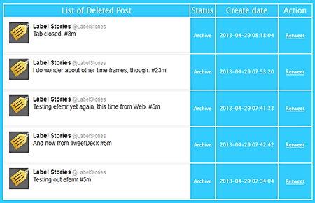Efemr self-destructing Twitter messages