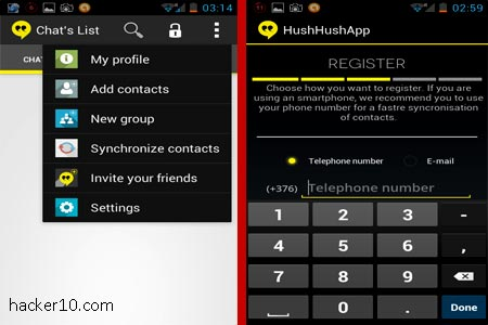 Smartphone encrypted chat HushHushApp