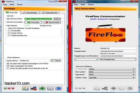Encrypted instant messenger FireFloo Communicator
