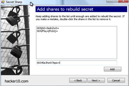 Secret Sharp rebuild Shamir shares