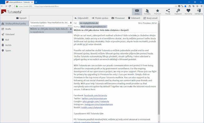 Tutanota free privacy email